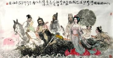 Chinese the Eight Immortals Painting,69cm x 138cm,3798001-x