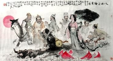 Chinese the Eight Immortals Painting,97cm x 180cm,3798002-x