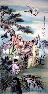 Chinese the Eight Immortals Painting,69cm x 138cm,3804005-x