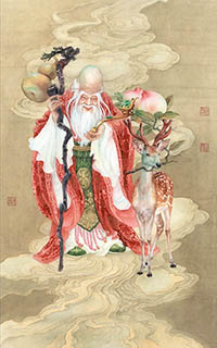 Chinese the Three Gods of Fu Lu Shou Painting,68cm x 136cm,3011004-x