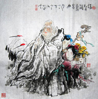 Chinese the Three Gods of Fu Lu Shou Painting,66cm x 66cm,31094020-x