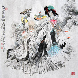 Chinese the Three Gods of Fu Lu Shou Painting,66cm x 66cm,31094026-x
