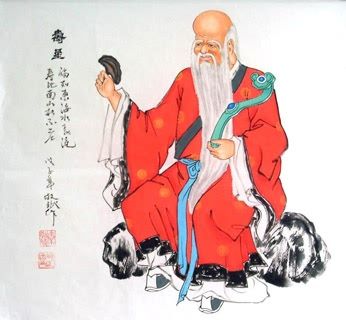Chinese the Three Gods of Fu Lu Shou Painting,50cm x 50cm,3519001-x