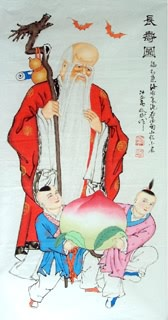 Chinese the Three Gods of Fu Lu Shou Painting,50cm x 100cm,3519004-x