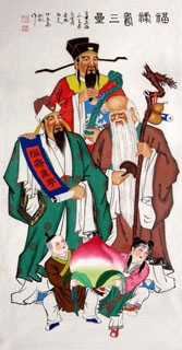 Chinese the Three Gods of Fu Lu Shou Painting,66cm x 136cm,3519037-x