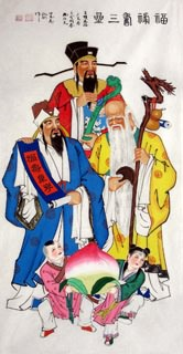 Chinese the Three Gods of Fu Lu Shou Painting,66cm x 136cm,3519038-x