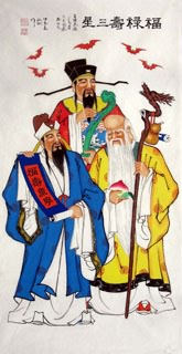 Chinese the Three Gods of Fu Lu Shou Painting,66cm x 136cm,3519039-x