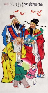 Chinese the Three Gods of Fu Lu Shou Painting,66cm x 136cm,3519040-x