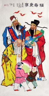 Chinese the Three Gods of Fu Lu Shou Painting,66cm x 136cm,3519041-x
