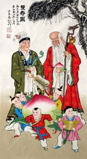 Chinese the Three Gods of Fu Lu Shou Painting,50cm x 100cm,3519042-x
