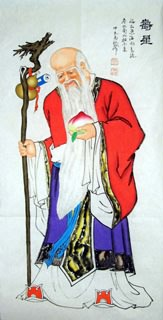 Chinese the Three Gods of Fu Lu Shou Painting,60cm x 120cm,3519046-x