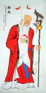 Chinese the Three Gods of Fu Lu Shou Painting,66cm x 130cm,3519047-x