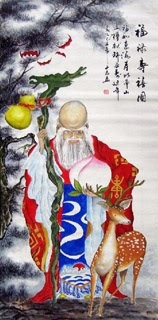 Chinese the Three Gods of Fu Lu Shou Painting,66cm x 136cm,3532015-x