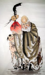 Chinese the Three Gods of Fu Lu Shou Painting,55cm x 90cm,3535013-x