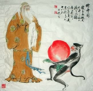 Chinese the Three Gods of Fu Lu Shou Painting,69cm x 69cm,3745009-x