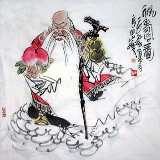 Chinese the Three Gods of Fu Lu Shou Painting,69cm x 69cm,3745010-x