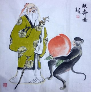 Chinese the Three Gods of Fu Lu Shou Painting,69cm x 69cm,3745024-x