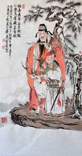 Chinese the Three Gods of Fu Lu Shou Painting,50cm x 100cm,3776010-x