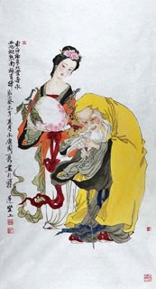 Chinese the Three Gods of Fu Lu Shou Painting,69cm x 46cm,3776011-x