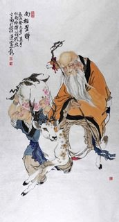 Chinese the Three Gods of Fu Lu Shou Painting,69cm x 46cm,3776012-x