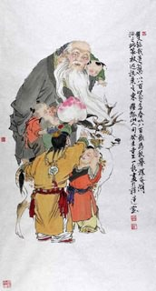 Chinese the Three Gods of Fu Lu Shou Painting,69cm x 46cm,3776013-x