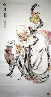 Chinese the Three Gods of Fu Lu Shou Painting,69cm x 138cm,3782006-x