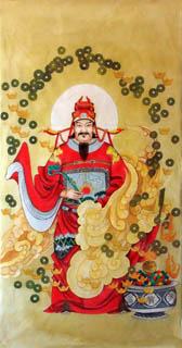 Chinese the Three Gods of Fu Lu Shou Painting,66cm x 136cm,3807012-x