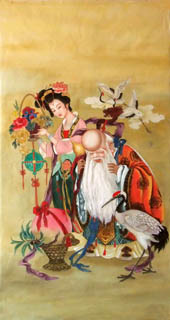Chinese the Three Gods of Fu Lu Shou Painting,66cm x 136cm,3807013-x