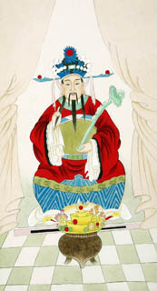 Chinese the Three Gods of Fu Lu Shou Painting,50cm x 95cm,3809039-x