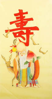 Chinese the Three Gods of Fu Lu Shou Painting,50cm x 95cm,3809040-x