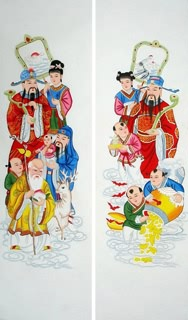 Chinese the Three Gods of Fu Lu Shou Painting,35cm x 126cm,3811004-x