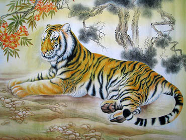 Chinese Tiger Painting,60cm x 80cm,4011007-x