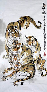 Chinese Tiger Painting,68cm x 136cm,4447011-x