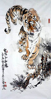 Chinese Tiger Painting,68cm x 136cm,4447012-x