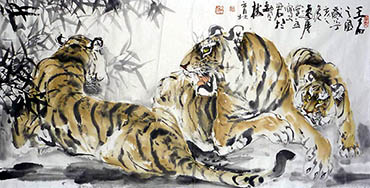 Chinese Tiger Painting,68cm x 136cm,4447013-x