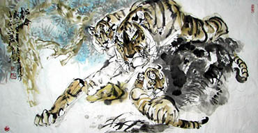 Chinese Tiger Painting,68cm x 136cm,4447014-x