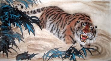 Chinese Tiger Painting,97cm x 180cm,4514005-x