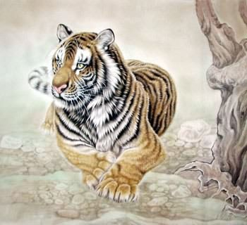 Chinese Tiger Painting,69cm x 69cm,4521002-x