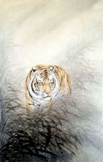 Chinese Tiger Painting,69cm x 138cm,4521007-x