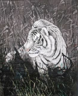 Chinese Tiger Painting,60cm x 70cm,4521009-x