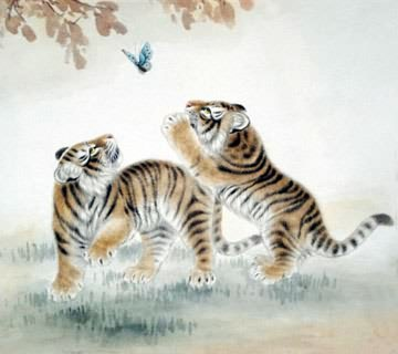 Chinese Tiger Painting,69cm x 69cm,4521010-x