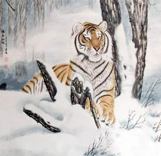 Chinese Tiger Painting,97cm x 90cm,4687002-x