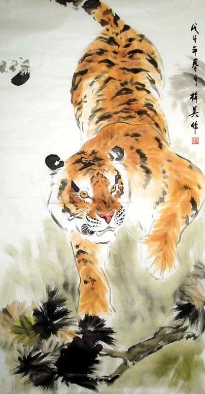 Ancient chinese tiger drawing - photo#14