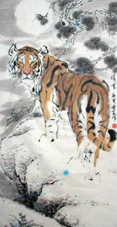 Chinese Tiger Painting,66cm x 136cm,4695002-x