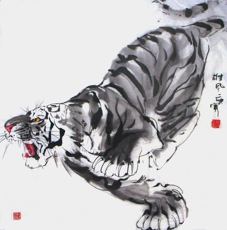 Aninimal Book: Chinese Tiger Painting 4695005, 66cm x 66cm(26〃 x 26〃)