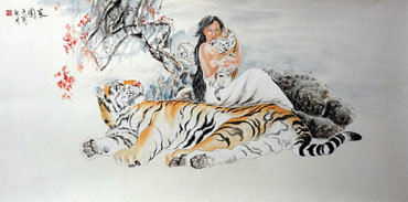 Chinese Tiger Painting,66cm x 136cm,4695006-x