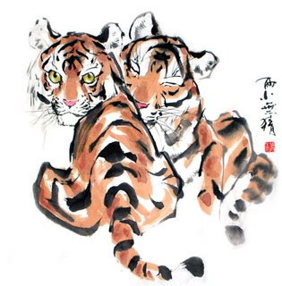 Chinese Tiger Painting,66cm x 66cm,4695011-x