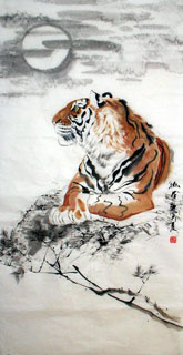 Chinese Tiger Painting,66cm x 136cm,4695014-x