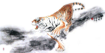 Chinese Tiger Painting,66cm x 136cm,4695017-x