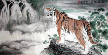 Chinese Tiger Painting,69cm x 138cm,4695022-x